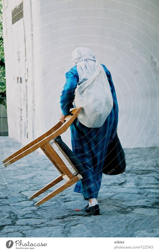 Woman Vacation & Travel Blue Lanes & trails Facade Walking Back Culture Dress Chair Belief Tradition Islam Carrying Bag Scarf