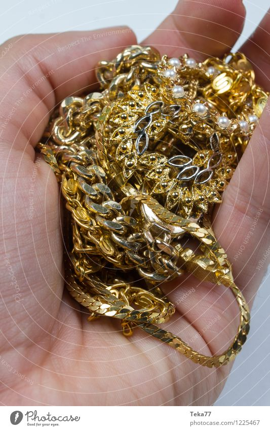 Hand full of FALSCH gold jewellery Lifestyle Shopping Elegant Style Human being Fashion Gold Ornament Yellow Poverty Trade Luxury Beautiful false gold Jewellery
