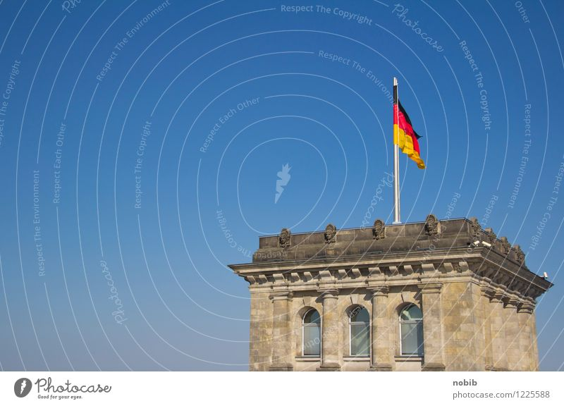 government tower Tourism Sightseeing Economy Berlin Capital city Deserted Tower Reichstag Stone Brick Flag Gigantic Historic Blue Yellow Gray Red Black Power