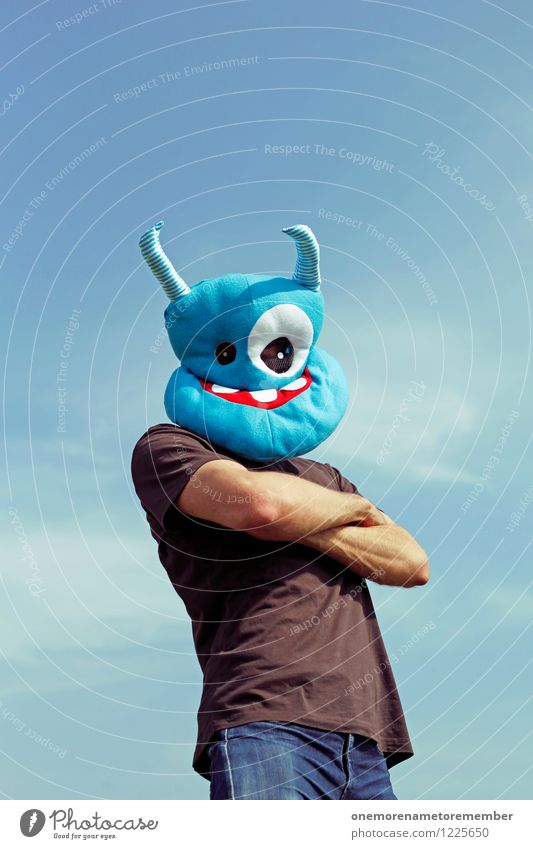 Youth (Young adults) Blue Art Crazy Esthetic Wait Youth culture Cool (slang) Strong Mask Effort Work of art Costume Blue sky Monster Protest