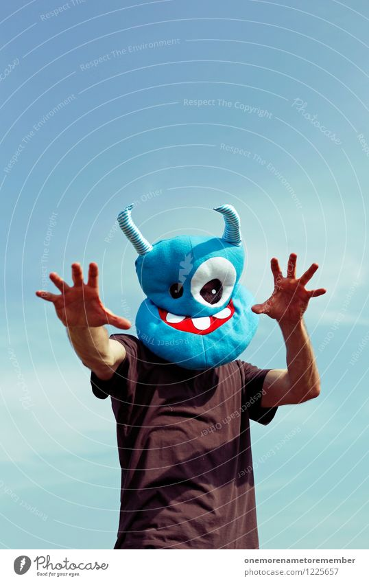 scarry Art Work of art Esthetic Monster Extraterrestrial being Ogre Monstrous Blue Mask Costume Carnival costume Disguised Scare Hallowe'en Hand Grasp