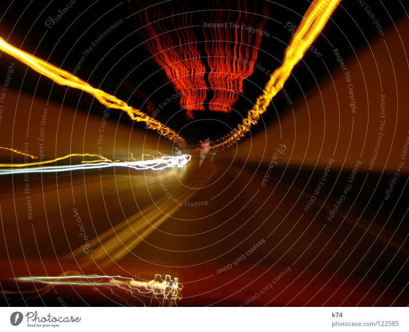 Strangers In The Light Tunnel Visual spectacle Exposure Driving Highway Red Yellow Vanishing point Speed Artificial light Traffic lane Tracer path Burn Time