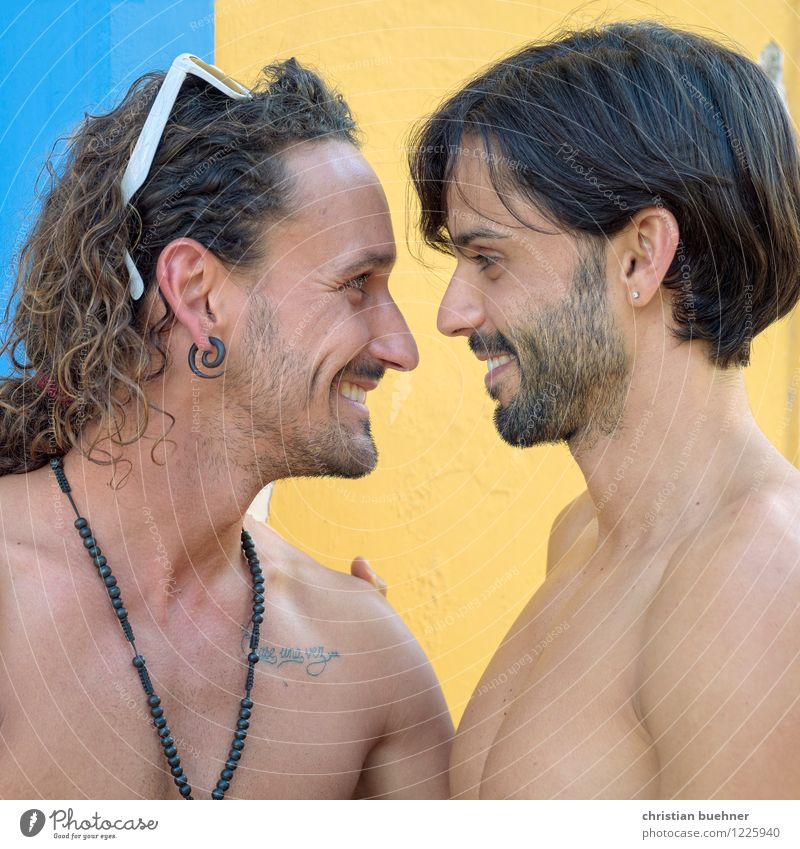 a feast for the eyes Homosexual Young man Youth (Young adults) Couple Partner 2 Human being 18 - 30 years Adults Kissing Smiling Love Looking Together Cuddly