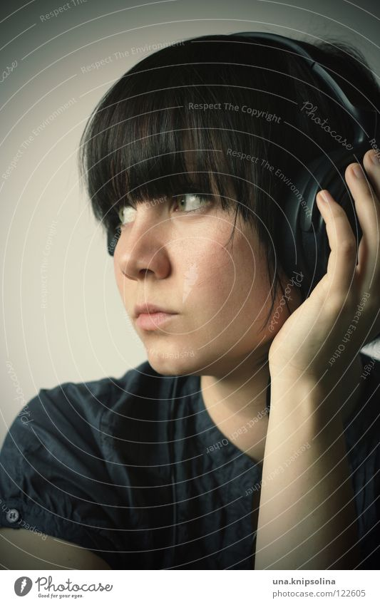Woman Youth (Young adults) Hand Adults Think Music Young woman Meditative Listening Brunette Headphones Thought Bangs Song