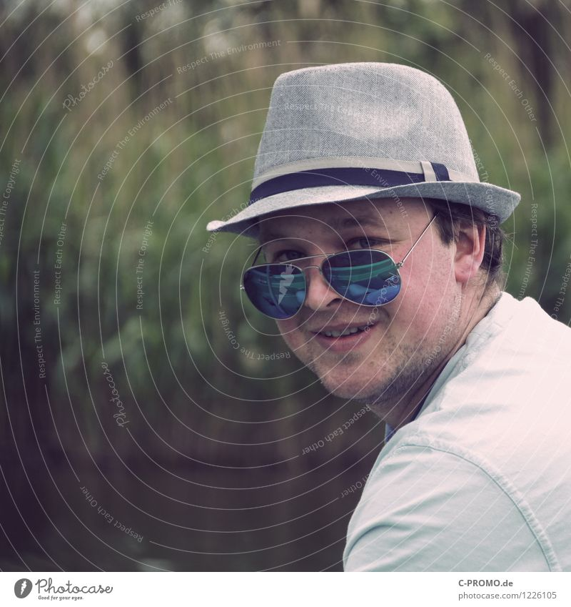 Retro Man Human being Masculine Adults 1 18 - 30 years Youth (Young adults) Sunglasses Hat Smiling Cool (slang) Hipster Designer stubble Reflection Nature