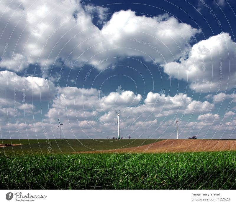 Sky Blue Summer Clouds Landscape Spring Grass Power Field Energy industry Electricity Technology Agriculture Wind energy plant Science & Research Advancement
