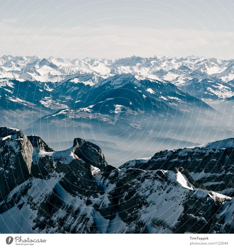 Nature Winter Far-off places Cold Snow Mountain Stone Ice Fog Large Rock Tall Frost Vantage point Switzerland Climbing