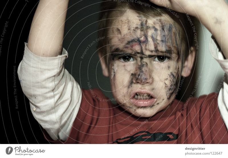 Child Face Playing Boy (child) Fear Facade Dangerous Threat Image Painting (action, work) Mask Carnival Anger Force Scream Facial expression