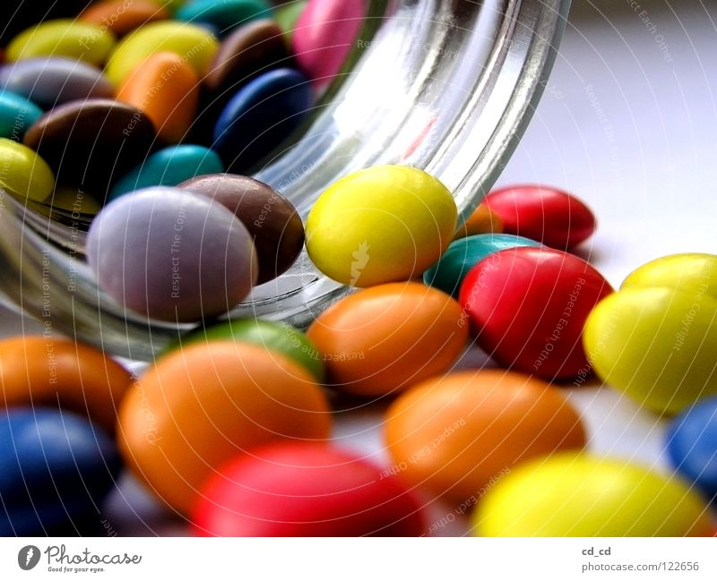 Many colorful Smarties Chocolate buttons Pill Macro (Extreme close-up) Multicoloured Candy Icing Sugar Glass Lie