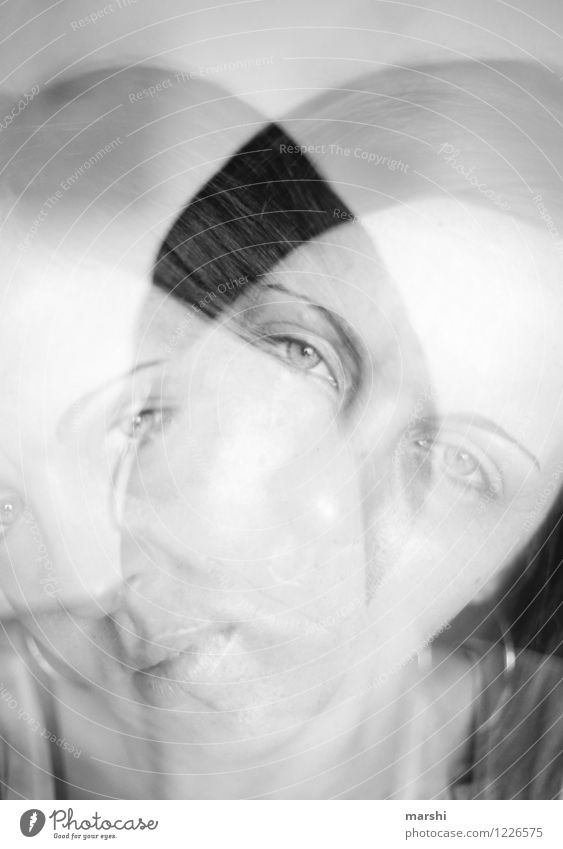 freakish Joy Human being Feminine Young woman Youth (Young adults) Woman Adults Head 2 30 - 45 years Artist Emotions Moody Erratic Double exposure Intensive