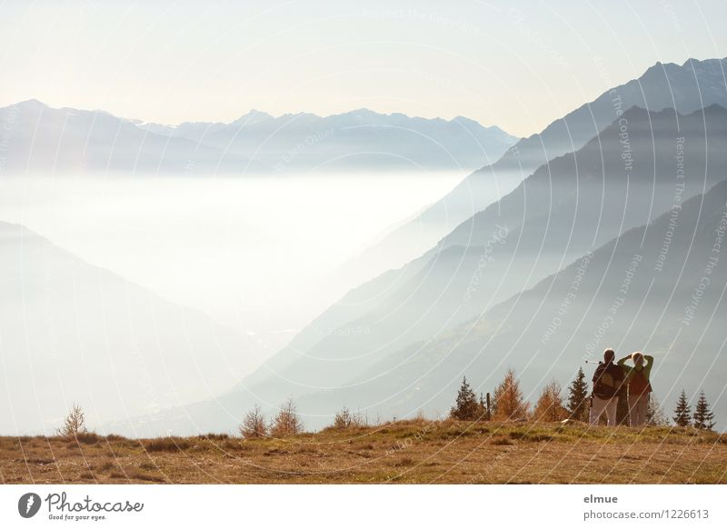mountain magic Vacation & Travel Mountain Hiking Couple Adults 2 Human being Environment Nature Landscape Autumn Beautiful weather Fog South Tyrol