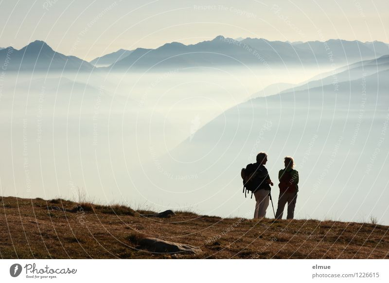 infinity Couple Adults 2 Human being Landscape Autumn Beautiful weather Fog Mountain South Tyrol Far-off places Infinity Happy Flying To enjoy Hiking Free Tall