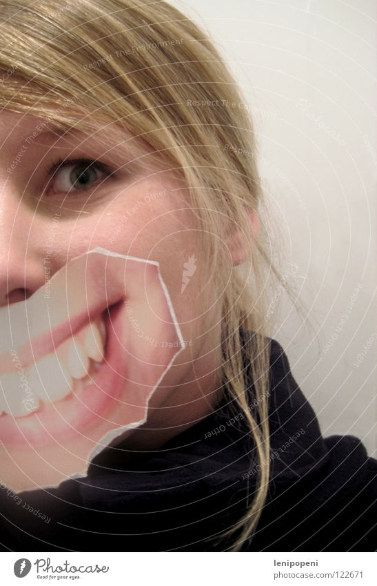 patchmouth Lips Woman Blonde Black Photography Run away Joy Laughter Mouth Grinning pasted Hide Emotions Bright Pallid Hair and hairstyles Image Looking
