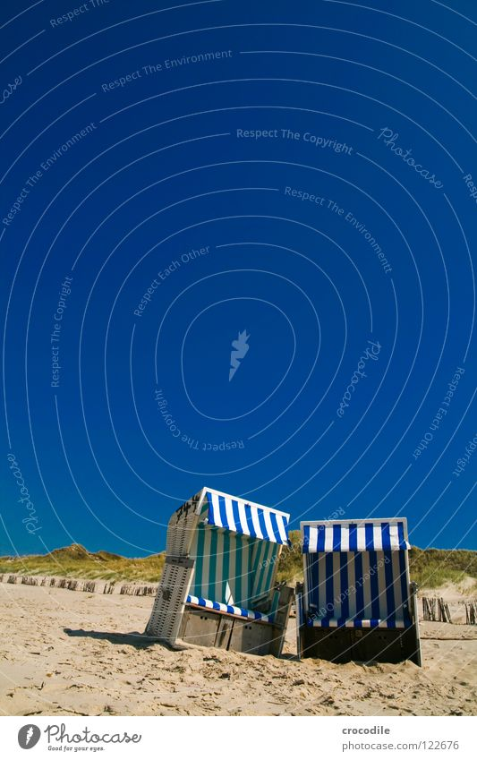 beach chair duo Beach Ocean Sylt Wood Clouds Growth Overgrown White Green Physics Hot Vacation & Travel Weather protection Stripe Striped Summer Sky Sand
