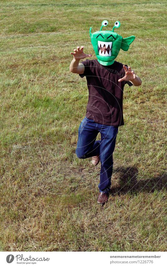 invasion Art Work of art Esthetic Extraterrestrial being Monster Stranger Ogre Monstrous Walking Running Crazy Attack Aggressive Green Meadow Romp Playing Joy