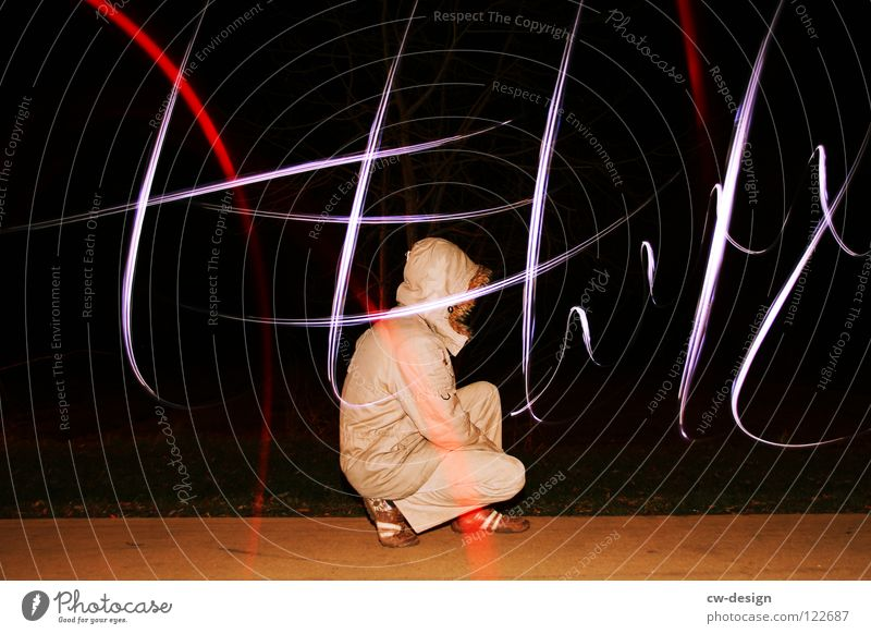 Human being Lamp Dark Lanes & trails Lighting Field Masculine Sit Posture Characters Leisure and hobbies Sign Lightning Sidewalk Symbols and metaphors Boredom