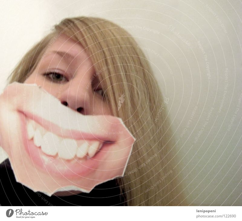 frontal patchmouth Lips Woman Blonde Black Photography Run away Joy Dentist Laughter Mouth Grinning pasted Hide Emotions Bright Pallid Hair and hairstyles Image