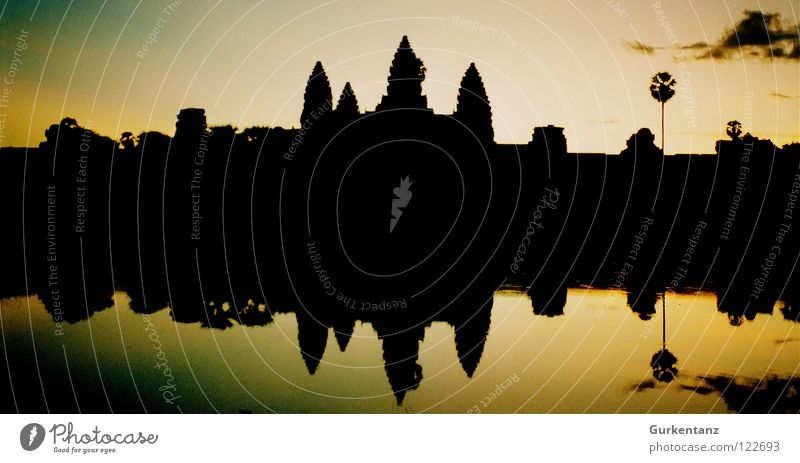 Water Lake Tower Asia Culture Monument Song Landmark Dusk Temple Legacy House of worship Evening sun Cambodia Duet Angkor Wat