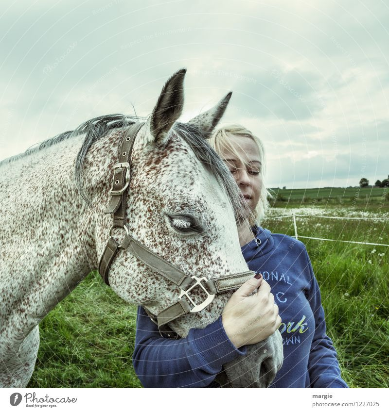 Horses - Love II Ride Feminine Young woman Youth (Young adults) Woman Adults 1 Human being Sky Clouds Meadow Field Animal Pet Pelt Gray (horse) To enjoy Blonde