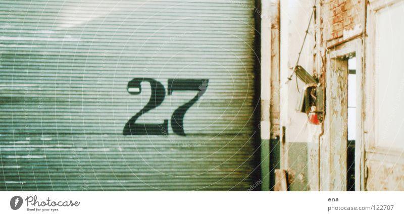 Old Green Loneliness Wood Wall (barrier) 2 Door Corner Digits and numbers Dresden Gate Derelict Brick Warehouse Pressure 7