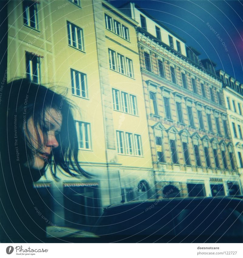 Passing By. House (Residential Structure) Woman Adults Window Yellow Housefront Mediterranean Glazed facade Diana Lomography Town Face of a woman Exterior shot