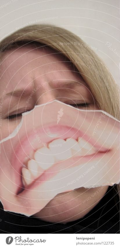 Turnedpatchmouth Lips Opposite Anger Aggravation Woman Blonde Black Photography Run away Closed eyes Insulted Evil Inverted Mouth pasted Hide Emotions Bright