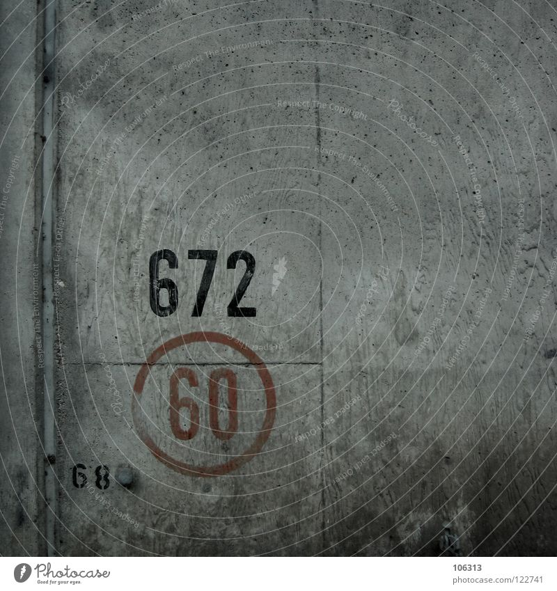 CIRCLE 60: 672 (68) Digits and numbers Wall (building) Concrete Symbols and metaphors Clue Freeway Past Driving Decent Graphic Puzzle Free space