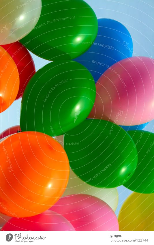 Sky Blue Green White Colour Joy Yellow Pink Orange Decoration Balloon Many Round Copy Space Carnival Hover