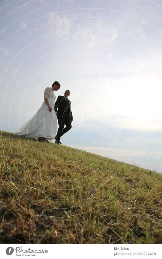 hiking day Lifestyle Wedding Masculine Feminine Couple Partner 2 Human being Environment Nature Landscape Beautiful weather Grass Meadow Hill Dress Suit Going