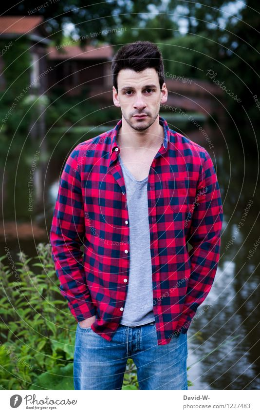 lumberjack look Style Human being Masculine Young man Youth (Young adults) Man Adults Life 1 Nature Park Lakeside Shirt Brunette Observe Looking Checkered