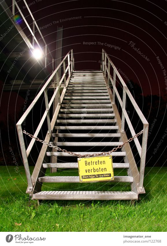 No trespassing Night Grass Long exposure Barrier Warning label Warning sign Stairs Upward Signs and labeling
