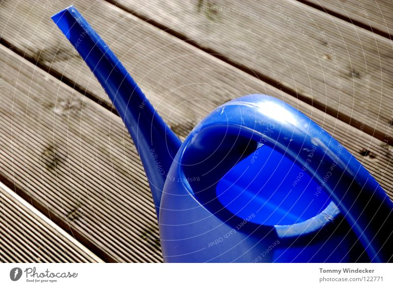 Are you ready to go? Watering can Iconic Seventies Design Classic Jug Pot plant Cemetery Gardening equipment Cast Flowerpot Wet Floorboards Wooden floor Summer
