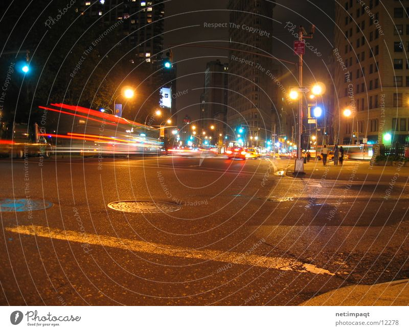 Street Lamp Movement Car Traffic light New York City Manhattan Exposure North America Flatiron Building