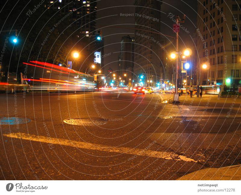 Street Lamp Movement Car Traffic light New York City Manhattan Exposure North America Flatiron Building
