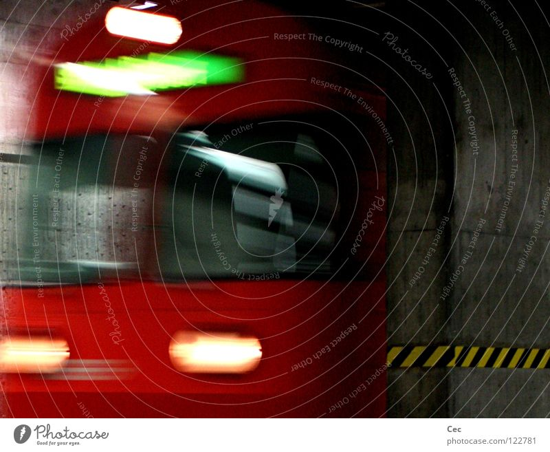 Green Red Black Yellow Dark Movement Gray Glass Concrete Railroad Speed Switzerland Station Tunnel Train station Deep