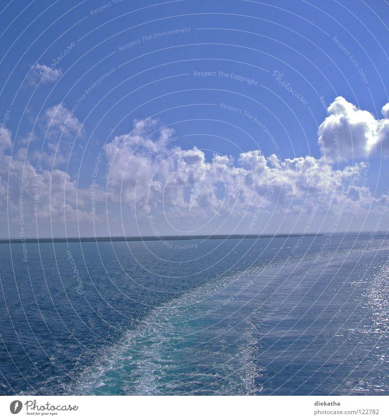 Blue Water Sun Ocean Clouds Lake Horizon Waves Island Tracks Cruise Stern Wake