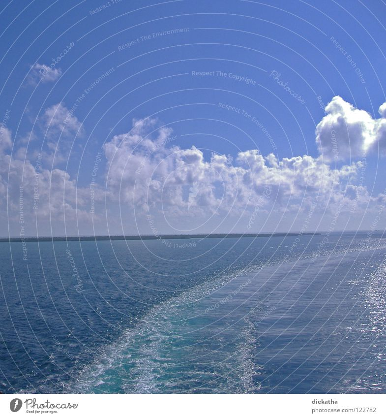change of course Ocean Clouds Waves Cruise Stern Wake Tracks Horizon Lake Water Blue Sun boat trip Island