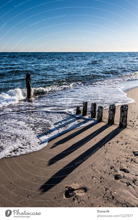 Long shadows Beach Ocean Nature Landscape Sand Water Horizon Beautiful weather Waves Coast Baltic Sea Blue Brown Black White Kühlungsborn