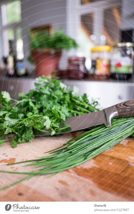 chives Food Herbs and spices Organic produce Knives Chopping board Kitchen Eating Brown Green White Glass Steel Flowerpot Colour photo Multicoloured