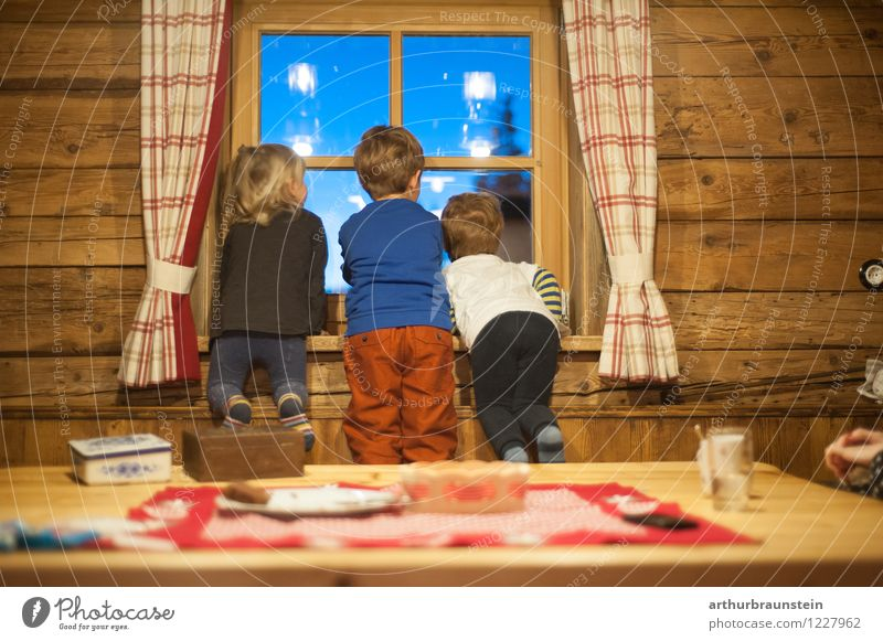 Human being Child Vacation & Travel House (Residential Structure) Winter Mountain Life Interior design Boy (child) Wood Friendship Masculine Living or residing