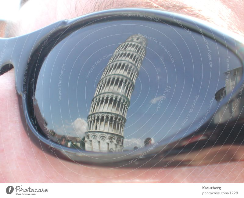 Face Art Tower Italy Tilt Sunglasses Tourist Attraction Eyeglasses Tuscany PISA study