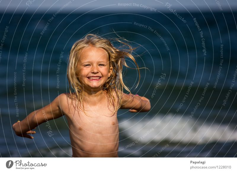 Human being Child Nature Vacation & Travel Summer Ocean Joy Girl Beach Life Movement Playing Happy Laughter Infancy Blonde