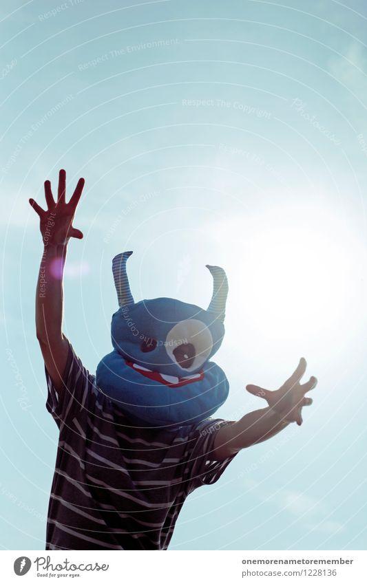 clasped Art Work of art Esthetic Monster Extraterrestrial being Ogre Monstrous Mask Costume Carnival costume Grasp Desire Require Stranger Blue Joy Comical