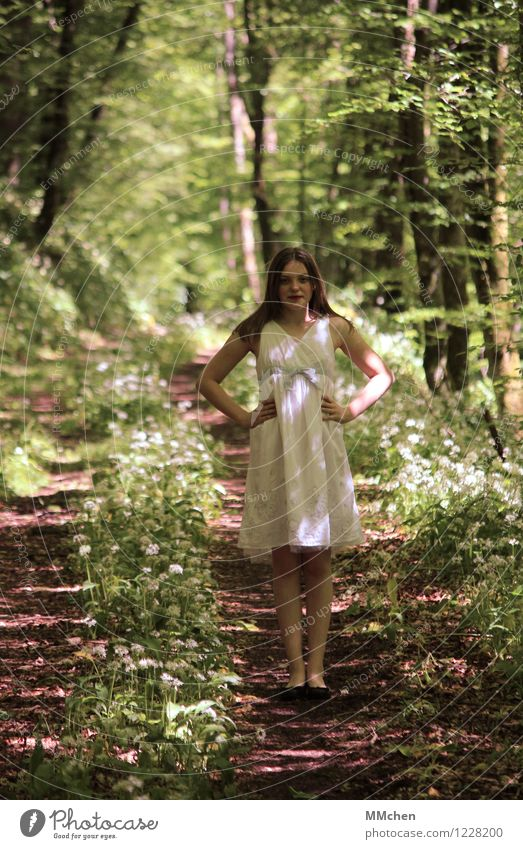 Human being Child Nature Youth (Young adults) Green Beautiful Summer White Girl Forest Natural Feminine Happy Park Infancy Stand