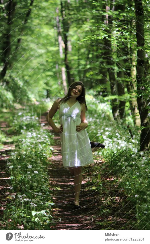 Human being Child Nature Youth (Young adults) Green Beautiful Summer White Girl Forest Life Feminine Style Playing Freedom Fashion
