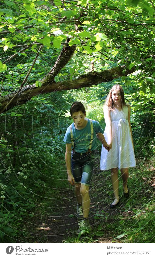 Come on! Summer Girl Boy (child) Brothers and sisters Sister Couple 8 - 13 years Child Infancy Nature Forest Lanes & trails Jeans Dress Suspenders Going
