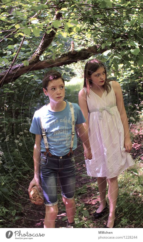 Hansel and Gretel... Bread Girl Boy (child) Brothers and sisters Sister 8 - 13 years Child Infancy Summer Tree Forest Lanes & trails Dress Observe Looking