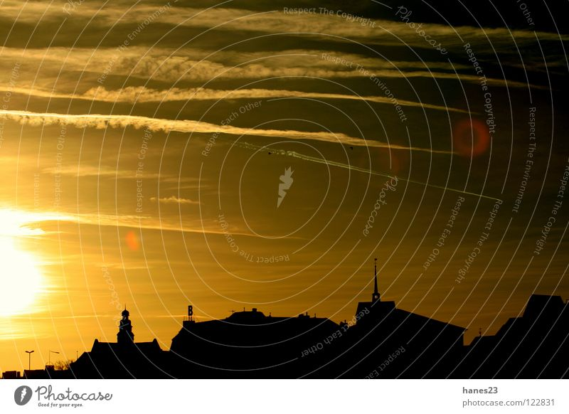 Dusk - PartOne Sun Winter Sky Clouds Town Dome Roof Yellow Gold Sunset Vapor trail minds banks of the Weser dazzle rings Silhouette Back-light