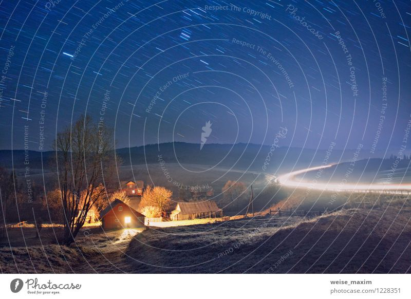 night in carpathian villiage Nature Landscape Earth Sand Fire Air Drops of water Sky Cloudless sky Autumn Climate Weather Ice Frost Tree Flower Bushes Blossom