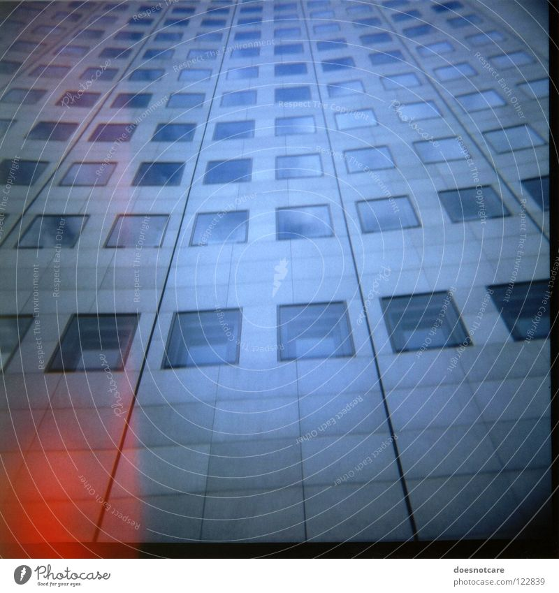 High Rise. Media High-rise Architecture Facade Window Glass Large Tall Modern MDR Leipzig Lomography Vignetting Blue Patch of light Red Glazed facade